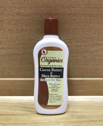 ULTIMATE ORGANICS COCOA BUTTER & SHEA BUTTER MOISTURISING BODY LOTION - 355ml